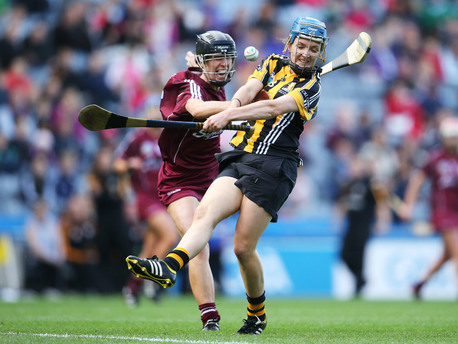 Galway's Sinead Cahalan and Claire Phelan of Kilkenny.