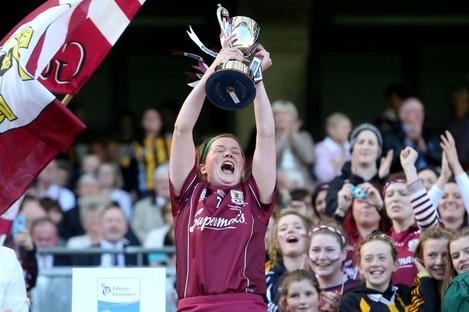Galway captain Sinead Keane lifts the cup.