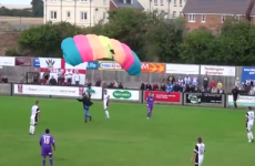 Take a parachute: Match stopped by pitch invader with a difference