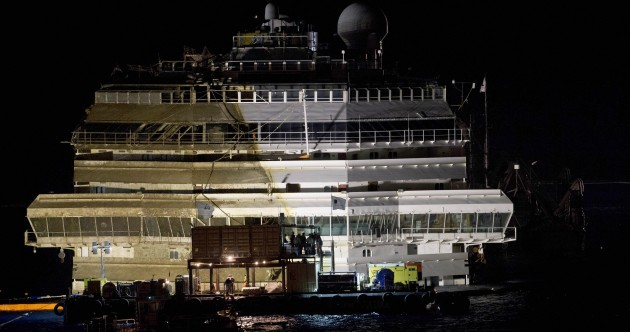 'A perfect operation': Costa Concordia pulled upright off Italian coast overnight [PICS]