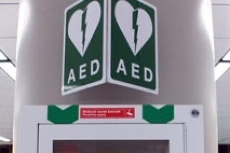 An AED box.