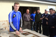Joe Canning shows the Barley House Wolves how to make a hurley
