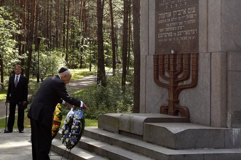 A remembrance ceremony at the Paneriai memorial outside Vilnius this August, which marks the spot where over 50,000 Jews were killed between July 1941 and August 1944.