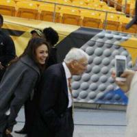 Mila Kunis & Ashton Kutcher photobomb Steelers owner Dan Rooney