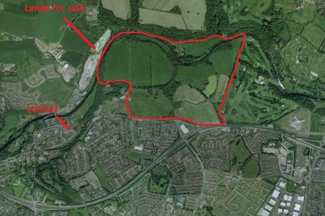 The lands at St Edmundsbury that are for sale.