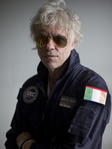 Bob Geldof has been fitted with a space flight suit, complete with Irish flag