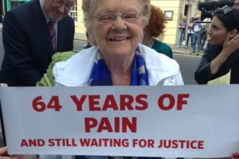 Margaret Dutton, 91, at a protest outside Leinster House earlier this year.