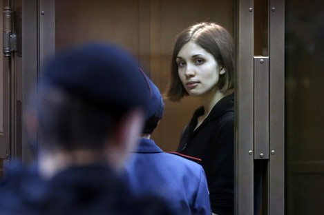 Nadezhda Tolokonnikova in a courtroom in Moscow earlier this year.