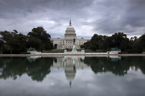 Storm clouds hang over Capitol Hill