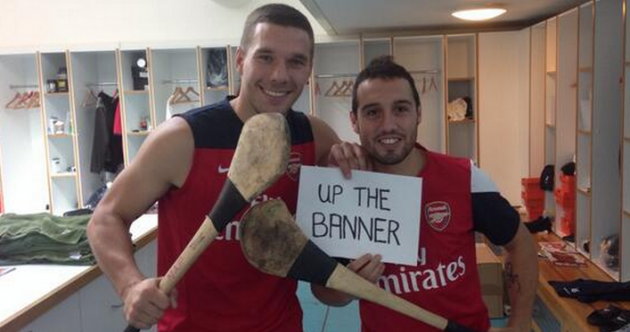 Arsenal stars Lukas Podolski and Santi Cazorla are supporting Clare today