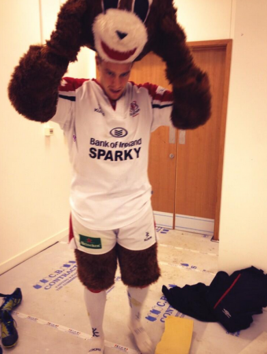 Andrew Trimble gets his bear suit on in support of Ulster Rugby