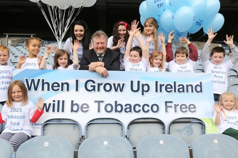 The Minister for Health is joined by children and teenagers at todays launch
