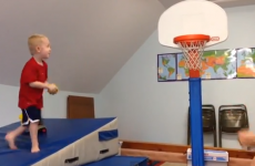 WATCH: Kid fails spectacularly at slam dunk