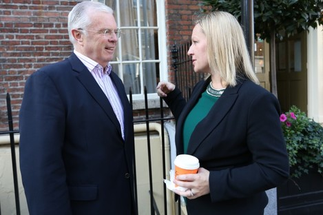 Peter Mathews speaking with Lucinda Creighton at a Reform Alliance meeting last month.