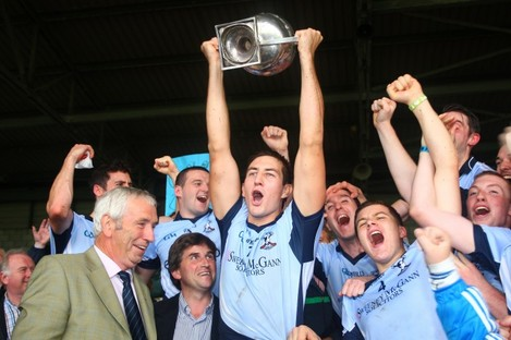 Na Piarsaigh captain James O'Brien lifts the trophy.