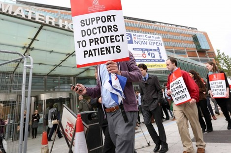 Doctors on the picket line outside the Mater Hospital in Dublin.
