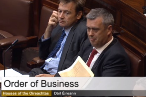 Colm Keaveney (right) sitting with former Labour colleague Dominic Hannigan in the Dáil this morning.