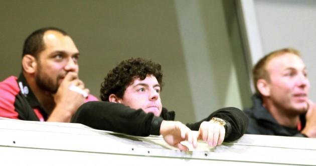 Snapshot: Wee Rory McIlroy peers over the wall to watch Ulster beat Leicester