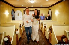 Jon Bon Jovi walks Bon Jovi superfan down the aisle