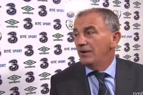 Ireland manager Noel Kingin front of the RTE camera.