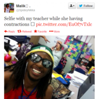 Teenager goes viral with selfie taken with his teacher who was in labour