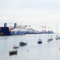 Gorgeous tilt shift rooftop view of Dublin Port