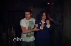 WATCH: Easily scared Ellen staffers go through Haunted House