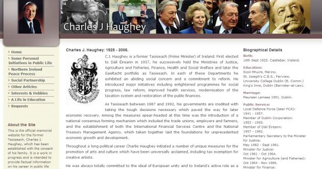 Haughey family behind website to provide 'factual information' about Charlie's career