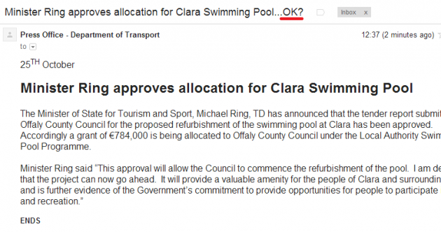 PIC: This Minister has approved funding for a swimming pool, are you OK with that?