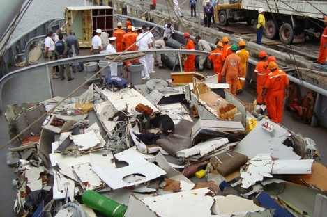 Some of the debris from the crash was recovered in 2009