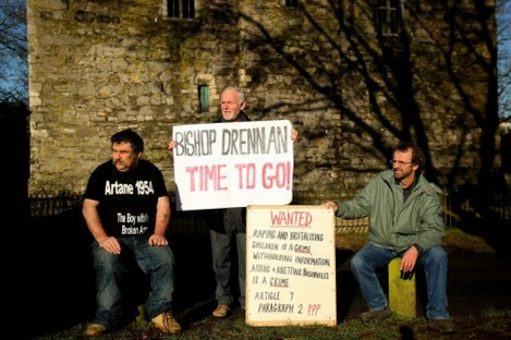 Victims of hold a protest outside St.Patrick's College, Maynooth. (File photo)