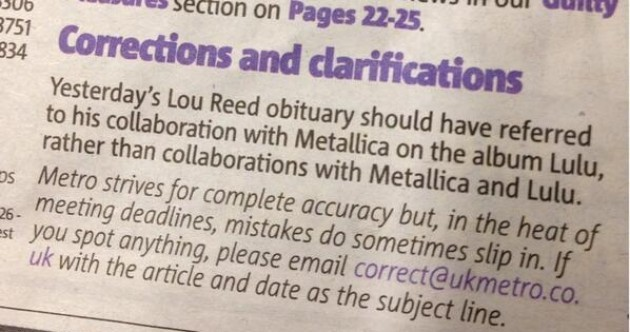 Best Lou Reed-related correction you'll see today