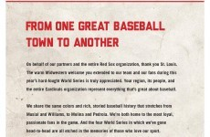 John Henry's Red Sox took a full page ad to thank St Louis fans today