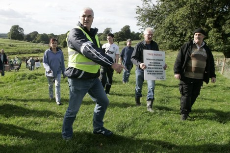 Ben Gilroy (in hi-vis jacket) taking part in a protest to retake a Kildare. (File pic)