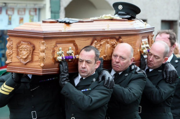 PSNI officers carrying Ronan Kerr's coffin.