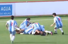 Keeper comes up for late corner, scores a bicycle kick
