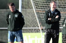 Keane on bibs and balls duty during O'Neill's first day on the training ground