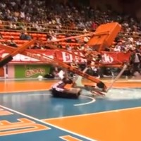Lucky escape for Harlem Globetrotter as backboard collapses and shatters on top of him