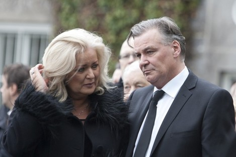 Derry Clarke and his wife Sallyanne at their son's funeral his school chapel in Clongowes Wood, County Kildare