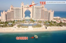 Pro golfers hit golf balls onto a floating green from the 22nd floor of a Dubai hotel