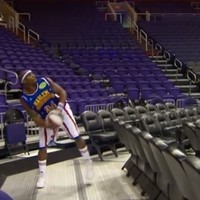 Harlem Globetrotter breaks the world record for the longest made basketball shot