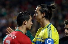 This split-screen video shows Zlatan and Ronaldo react to each other's goals