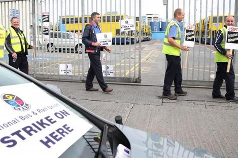 SIPTU and NBRU members picket during the Dublin Bus strike.