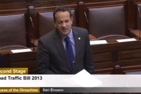 Transport Minister Leo Varadkar speaking in the Dáil today