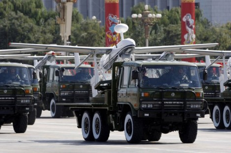 A truck loaded with the Chinese made drone