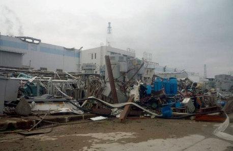 Debris at a turbine building at the Fukushima Daiichi nuclear power station