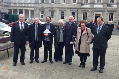 Some of the independent TDs supporting the motion at Leinster House today