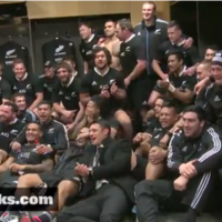 All Blacks celebrate Irish win with rousing rendition of 'Red Red Wine'