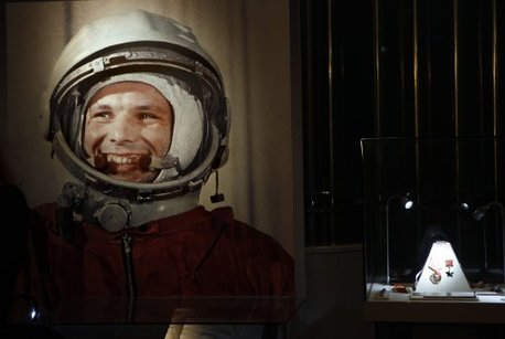An undated portrait of the first man in space, Yuri Gagarin.