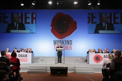 Labour leader Eamon Gilmore addressing delegates last night